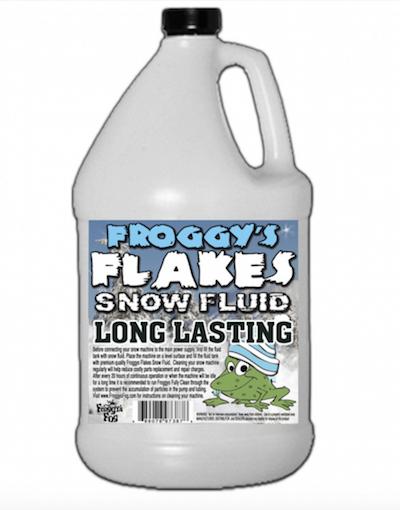 LONG LASTING Snow Juice Machine Fluid - Froggys Flakes (75+ Feet Float / Drop) Blizzard Formula