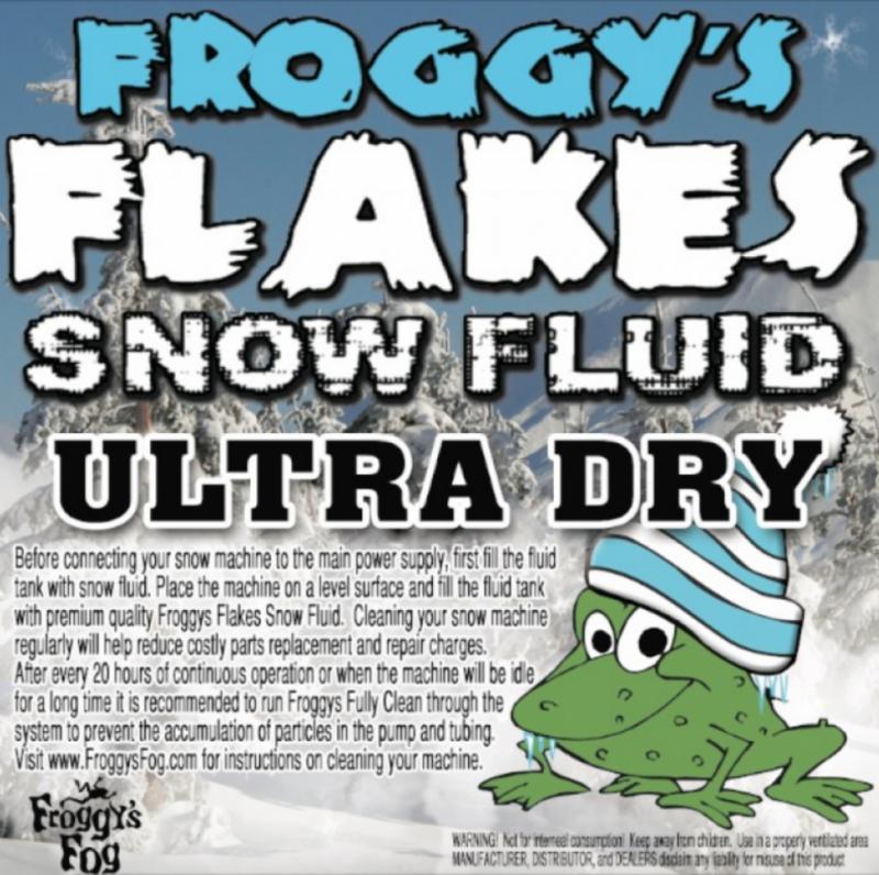 Ultra Dry - No Odor - Snow Juice Machine Fluid - Froggys Flakes Ultra (30-50 ft. Float/Drop)