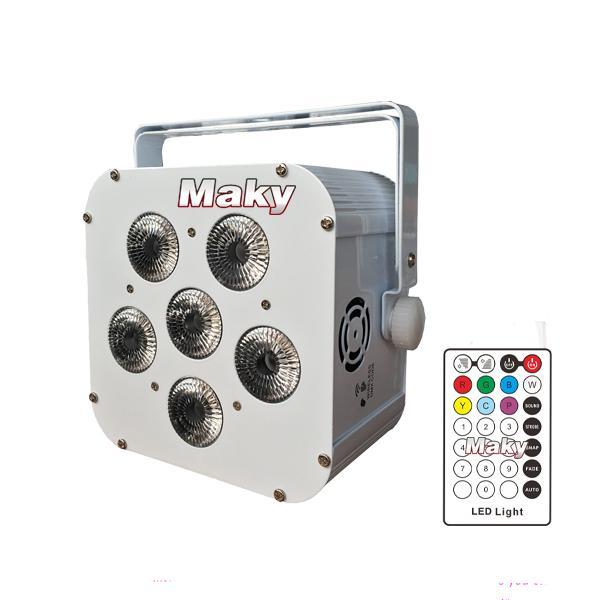 6PCS 18W LED RGBWAUV battery&wireless dmx&IR par light - LED battery &wireless uplight - Guangzhou Maky Stage Light Co., Limited