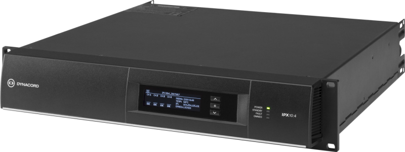 IPX10:4 4 x 2500 W multi‑channel installation DSP Class‑D amplifier by Dynacord