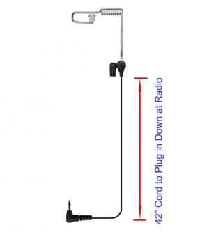Tracker Listen Only Coiled Tube Earpiece - 3.5mm RA Connector, 42""